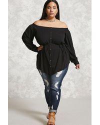 Forever 21   Black Plus Size Off-the-shoulder Top   Lyst