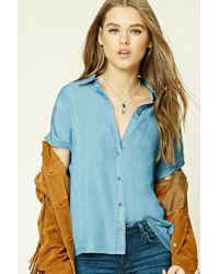 Forever 21 | Blue Chambray Dolman Shirt | Lyst