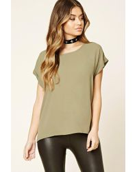 Forever 21 | Green Sheer Cuffed-sleeve Top | Lyst