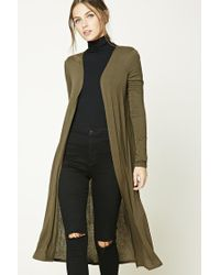 Forever 21 | Green Open-front Longline Cardigan | Lyst