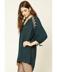 Forever 21 - Multicolor Embroidered Peasant Dress - Lyst