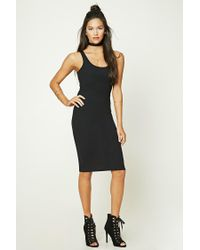 Forever 21 - Black Ribbed Knit Bodycon Dress - Lyst