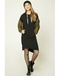 Forever 21   Black Hooded Fleece Sweater Dress   Lyst