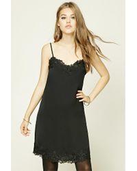 Forever 21 | Black Applique Cami Slip Dress | Lyst