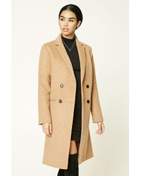 Forever 21 | Natural Double-breasted Wool Blend Coat | Lyst