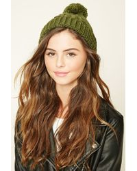 Forever 21 | Green Cable Knit Pom-pom Beanie | Lyst