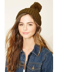 Forever 21 | Brown Cable Knit Pom-pom Beanie | Lyst
