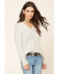 Forever 21 | Gray V-neck Cable Knit Sweater | Lyst