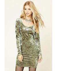 Forever 21 | Green Crushed Velvet Bodycon Dress | Lyst