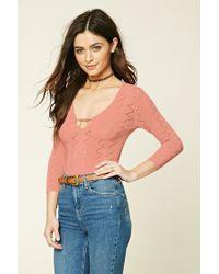 Forever 21 | Pink Pointelle Knit Bodysuit | Lyst