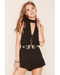 bc4960539c9 Lyst - Forever 21 Ruffled Keyhole Romper in Black