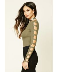 Forever 21 - Green Ribbed Knit Cutout Top - Lyst