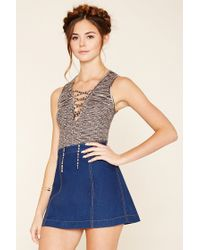 Forever 21 | Gray Lace-up Sweater Top | Lyst