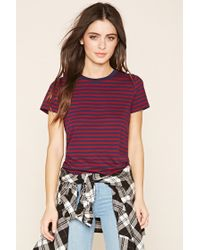 Forever 21 | Purple Classic Striped Tee | Lyst