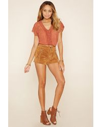 Forever 21 - Multicolor Crochet Lace-up Crop Top - Lyst