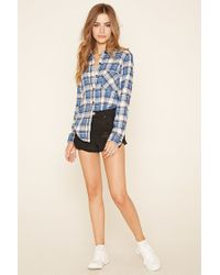 Forever 21 - Blue Plaid Flannel Shirt - Lyst