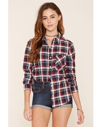 Forever 21 | Red Tartan Check Button-front Shirt | Lyst