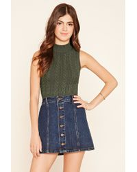 Forever 21 | Green Mock Neck Knit Crop Top | Lyst