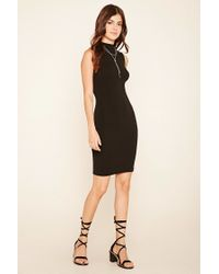 Forever 21 - Black Mock Neck Midi Dress - Lyst