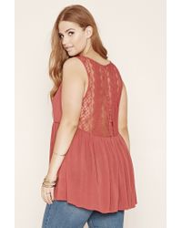 Forever 21 - Blue Plus Size Lace-back Top - Lyst