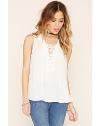 Forever 21 | Black Lace-up Grommet Top | Lyst