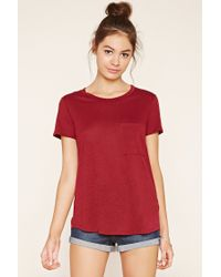 Forever 21 | Red Burnout Knit Pocket Tee | Lyst