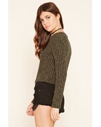 Forever 21 - Green Cropped Ribbed Knit Sweater - Lyst