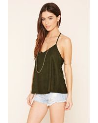 Forever 21 | Natural Faux Suede Crochet Cami | Lyst