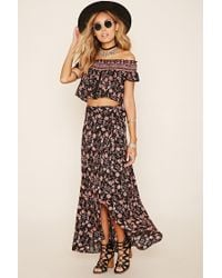 Forever 21 - Multicolor Wrap-front Floral Print Maxi Skirt - Lyst
