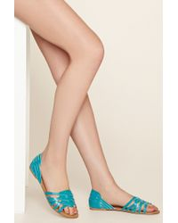 Forever 21 | Natural Crisscross Faux Leather Sandals | Lyst
