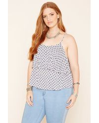 Forever 21 | Blue Plus Size Geo Flounce Cami | Lyst