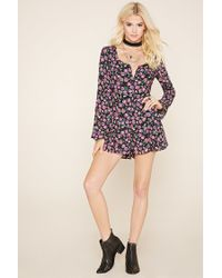 Forever 21 - Black Floral Bell-sleeve Playsuit - Lyst