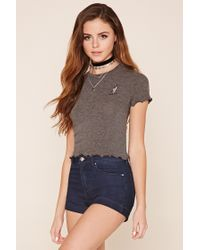 Forever 21 | Gray Call Me Graphic Crop Top | Lyst