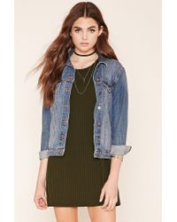 Forever 21 | Green Ribbed Knit T-shirt Dress | Lyst