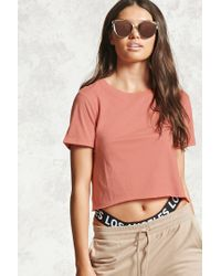 Forever 21 | Pink Semi-cropped Cuffed Tee | Lyst