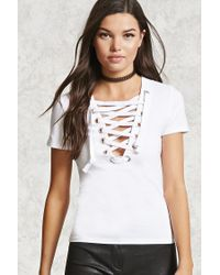 Forever 21 | White Lace-up Knit Top | Lyst