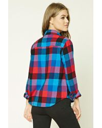 Forever 21 - Red Fleece Check Shirt - Lyst