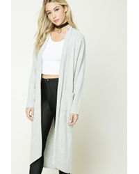 Forever 21 | Gray Heathered Longline Cardigan | Lyst