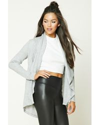 Forever 21 | Gray Draped Heathered Cardigan | Lyst