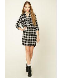 Forever 21 | Black Plaid Flannel Shirt Dress | Lyst