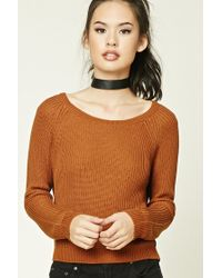 Forever 21 - Brown Boat Neck Sweater - Lyst