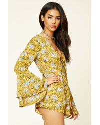 Forever 21 - Multicolor Lace-up Floral Print Romper - Lyst