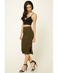 Forever 21 | Green Ribbed Knit Pencil Skirt | Lyst