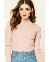 Forever 21 | Pink Ribbed Mock Neck Sweater | Lyst