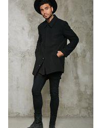 Forever 21 | Black Snap-button Wool-blend Topcoat for Men | Lyst