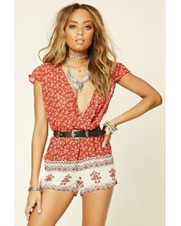 Forever 21 | Red Raga Ditsy Floral Print Romper | Lyst