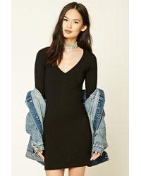 Forever 21 | Black V-neck Bodycon Dress | Lyst