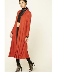 Forever 21 | Red Longline Hooded Cardigan | Lyst