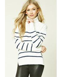 Forever 21 | White Striped Turtleneck Sweater | Lyst