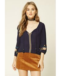 Forever 21 | Multicolor Embroidered Peasant Top | Lyst